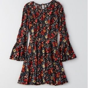 American Eagle Floral Bell Sleeve Boho Multi Dress